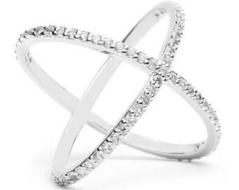Sterling Silver Criss Cross Ring, X cross silver ring, Criss Cross Cubic Zirconia r
