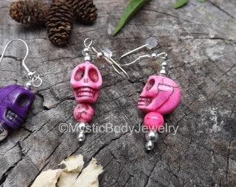 Skull Earrings Pink 20g Purple Skulls Dia de Muertos Dangle Calavera Day of the Dead Pair Silver Mexican Shrunken Heads Halloween Earring