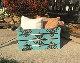 Hand-painted Decorative Wood Crate Aqua/Choclolate Distressed Sanded Bedroom Wedding Gift Varnished