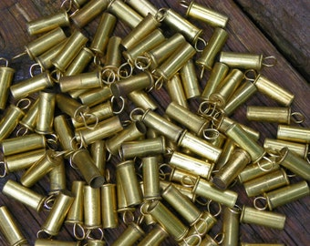 Upcycled Materials for Crafts - Knee Deep in Brass (100 count hand-drilled and wired .22 caliber casings) Industrial Steampunk Findings