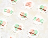 Fondant Lovebird Wedding/ Anniverary/ Engagement Cupcake/ Cookie Toppers - set of 12