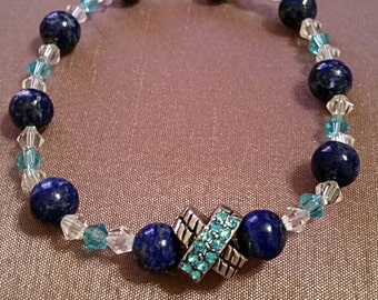 Beaded bracelet royal blue / aqua