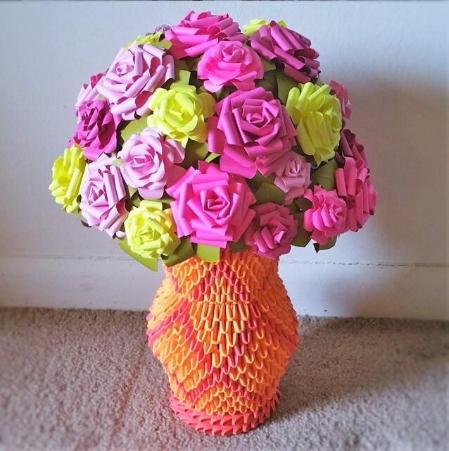 Vase 3d Origami Diagram: 3d Origami Flower Vase / Paper Roses / By BeigePaperCrafts