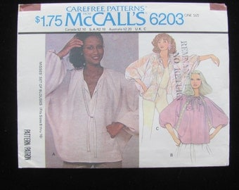 1978 McCall's 6203 Blouse Top Shirt Dolman Batwing Pullover Pattern Misses One Size UNCUT