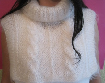Elegant Hand knitted Women's  Neck warmer stylish and warm shirt-front on chest  and back. Made of 100% White mohair  yarn
