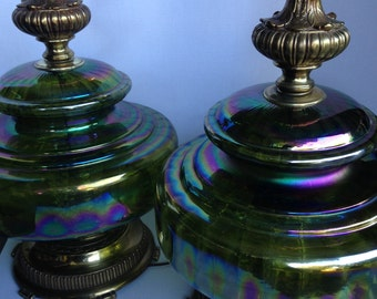 Carvinal Iridescent Amber Glass Lamp Set
