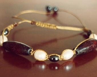 Handmade Wood, Hematite and Freshwater Pearl Macrame Bracelet