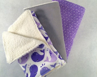 Baby Burp cloths-Purple and Grey