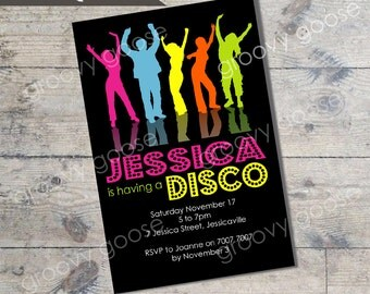 Funky Disco kids party invitation DIY Printable Disco theme party printable invitations Personalised invitation Dance party invitation