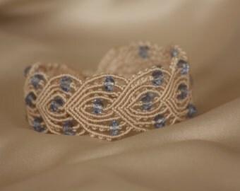 Macrame bracelet with blue crystals