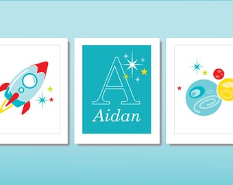 Nursery Wall Art: Set of 3 8x10 printables, customizable name; space-themed; red and teal; gender-neutral nursery decor