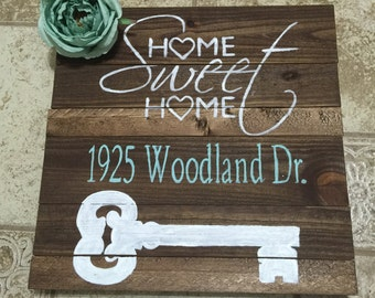 Home Sweet Home Wood Sign with address