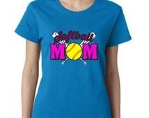 Softball Mom Tshirt Best Mom Ever Tee Sport  Support Tee Ladies Tshirt