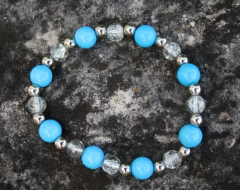 Light Blue and Silver Acrylic Bracelet, Beaded Bracelet, Light Blue, Silver, Stretch Bracelet