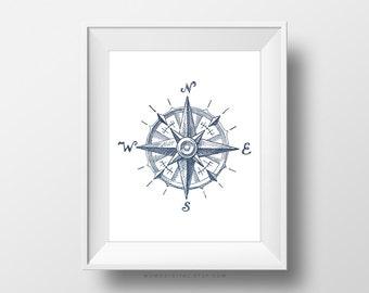 SALE -  Compass, Compass Illustration, Nautical Print, Nautical Poster, Compass Print, Compass Poster, Vintage Print, Modern Print