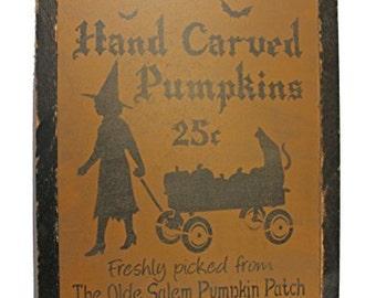 Halloween Olde Salem Pumpkin Patch Distressed Wood Sign