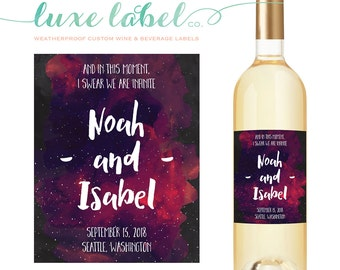 "Custom ""Wedding Wine Label"" - Custom Wine Label - Galaxy Wine Bottle Label - Favor - Centerpiece, Galaxy Wedding, Waterproof Wine Label"
