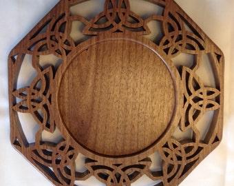 Scroll Saw Celtic Trinity Candle Ring - Walnut