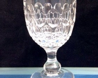 19thc Victorian Heavy Thumb Print Pressed Rummer Glass