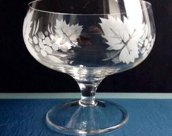Lead Crystal Grape & Leaf Etched Pedestal Fruit Bowl