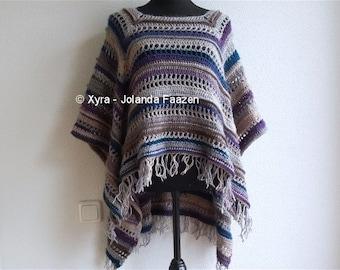 PATR1033 - Xyra Crochet-pattern - Rectangular poncho with long back (English-US & Dutch)