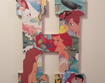 Any Letter to be Made with Vintage Little Mermaid Design