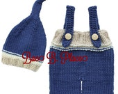 NEWBORN Baby Boy Handmade Knitted 2-piece Set Blue and Cream Long Tail Beanie and Pants with Suspenders Photo Shoot Outfit Baby Shower Gift