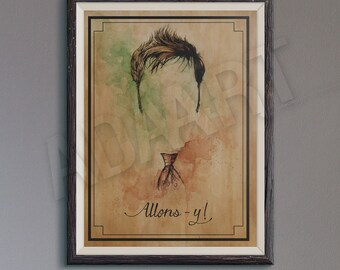 Allons-y of Doctor Who illustration limited edition watercolor copy