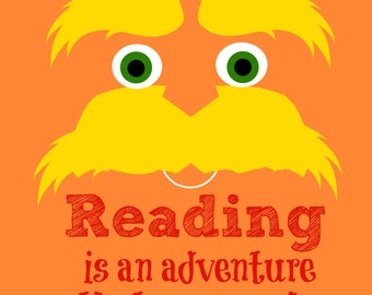 Instant digital download, printable, Lorax reading poster, classroom, Dr. Seuss, reading 8x10