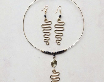 Brass Squiggle Choker and matching Earrings