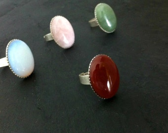 silver plated ring agate