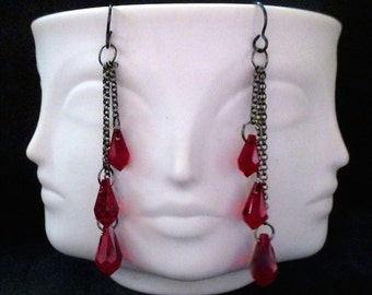 Three Tiered Swarovski Siam Crystal Teardrops Dangling From Oxidized Sterling Silver Chains Earrings