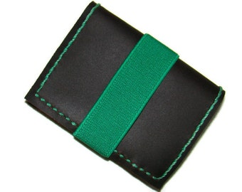 leather wallet, mens leather wallets , handmade stitching and green rubber