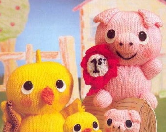 Toy Pig and Chick Knitting Pattern PDF Download