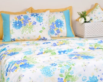 ocean blue floral duvet cover set in full queen king size turquoise mustard yellow - Floral Duvet Covers