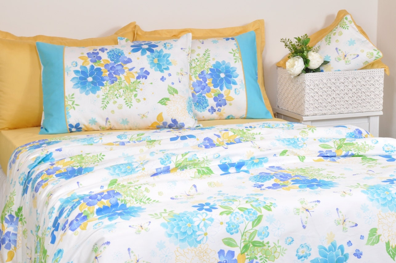 Floral Dorm Bedding In Twin Twin Xl Size Ocean Blue