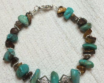Tourquise and tiger eye silver bracelet