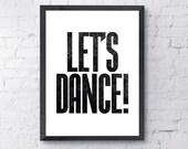 David Bowie Let's Dance Print, Digital Download, A4 /A3 Size, Bowie Art, Modern Letterpress Style Typography, Black & White Printable Art