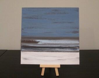 Water art, abstract water art, small blue painting, small blue art, small nautical art, lake art, natural abstract art, blue acrylic art