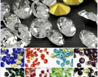 2 x Gross (Approx. 288) 3.7-3.8mm Pointback Glass Rhinestones Chatons SS15.5