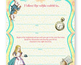 Alice in Wonderland Invitations - FILL-IN INVITATIONS - Set of 10 with Envelopes