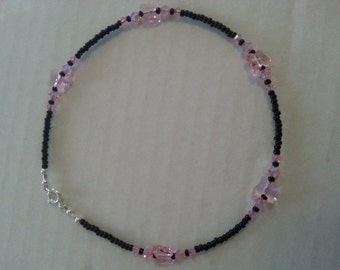 Butterfly anklet,crystal anklet,crystal butterflies,pink,seed beads,summer jewelry,fun anklet