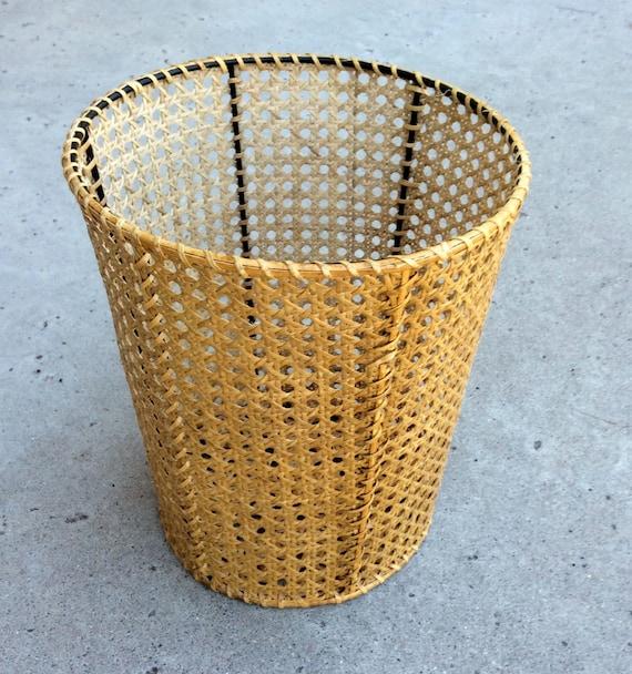 Vintage wovan rattan cane basket waste can - Rattan waste basket ...