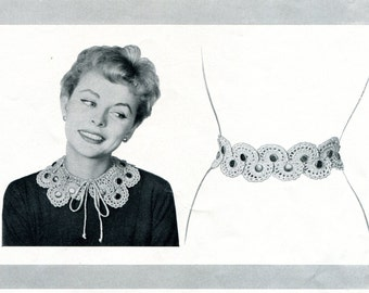 1950's Crocheted Peter Pan Collar & Matching Belt PDF Pattern Instant Download