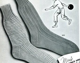 1950's Men's Mid Century Socks  PDF Pattern Instant Download