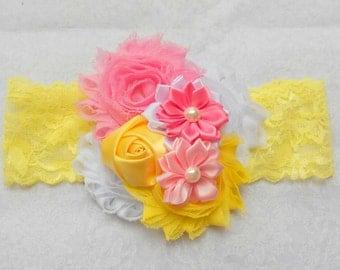Pink and Yellow Headband - Pink Headband - Girls Headband - Infant Headband - Lace Headband - Pink Headband - Photo Prop
