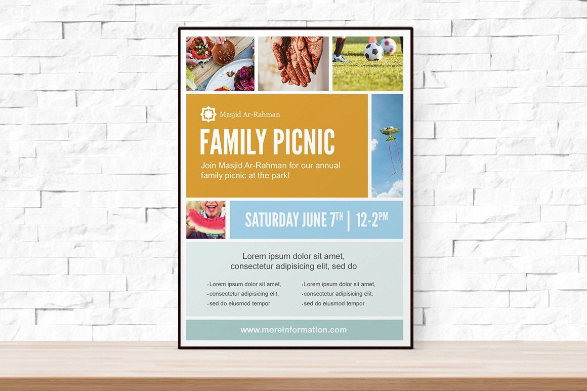 Diy printable picnic collage event template flyer for church for Free printable event flyer templates