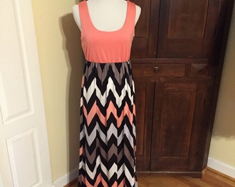 Casual Tank Top Full Length Chevron Maxi Dress