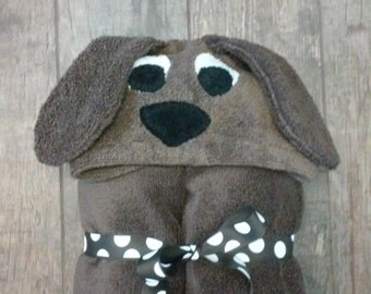 Puppy Hooded Towel - Embroidering option