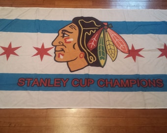 City of Chicago Blackhawks Large 3' x 5' One Sided Flag Limited Edition